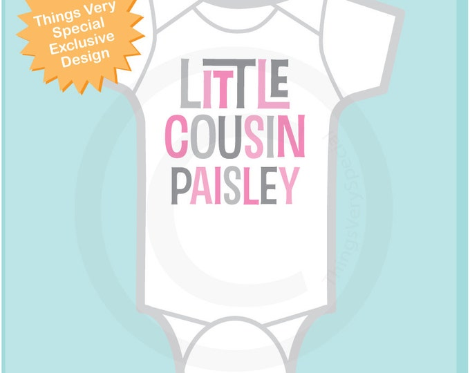 Little Cousin Shirt or Onesie, Personalized Pink and Grey Text, Infant, Toddler or Youth sizes t-shirt (12192013b)
