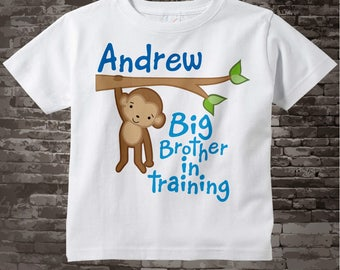 Boy's Big Brother Shirt or Onesie, Big Brother In Training Shirt, Personalized Big Brother Monkey Shirt 09162011b