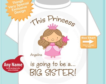 Girl's Brown Hair Princess is going to be a Big Sister Tee Shirt or Onesie, personalized Pregnancy Announcement (08082014c)