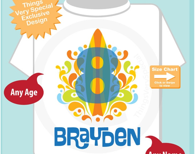 Boy's Eighth Birthday Surfing Big number 8 Shirt Personalized Birthday Boy Theme Tee Shirt or Onesie (09022014a)
