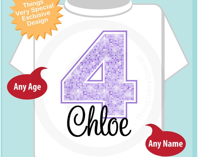 Fourth Birthday Shirt, Light Purple 4 Birthday Shirt, Any Age Personalized Girls Birthday Shirt Light Purple Age and Name (04152014h)