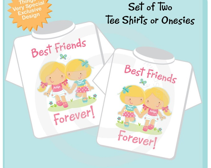 Set of Two, Personalized Best Friends Forever Shirt or Onesie with two Girl Best Friends (10162013b)