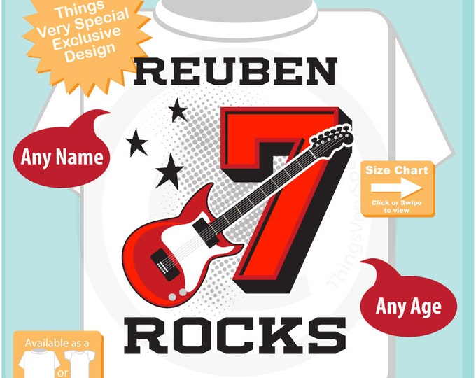 7th Birthday, Boy's Red Guitar Birthday Shirt or Onesie, Personalized Birthday Shirt, Red Guitar Shirt with Age and Name (12312016c)