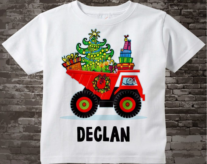 Christmas Shirt - Boy's Christmas Truck Shirt - Personalized Boys Christmas Dump Truck Outfit top - Tshirt or Onesie Bodysuit 11212016a