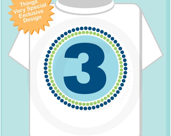 Three Year Old Boy Circle Design Tee or Onesie Green and Blue 07102012bz