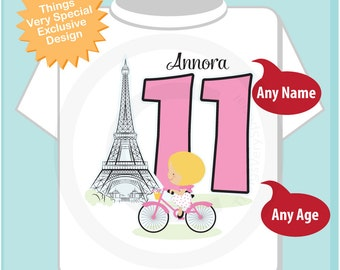 Eleventh Paris Birthday Shirt, Pink 11 Birthday Shirt, Personalized Girls Birthday Shirt Pink Age and Name Tee for kids (09262016g)