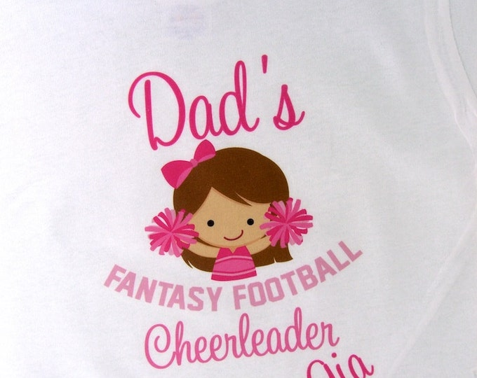 Girl's Fantasy Football Shirt, Personalized Fantasy Football Shirt, Dad's Fantasy Football Cheerleader Shirt or Onesie with name (08312011b)