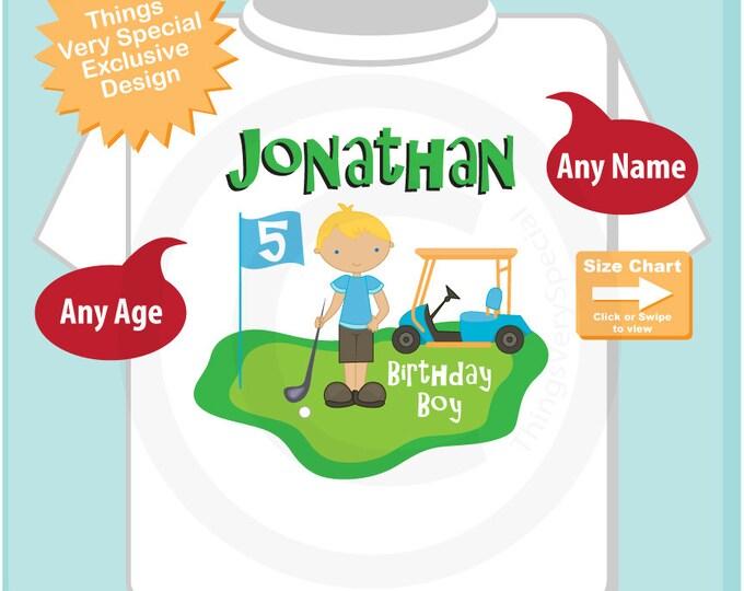 5th Birthday Golf Theme Shirt or Onesie Bodysuit, Personalized Fifth Birthday Boy Golfer Tee Shirt (05132015b)