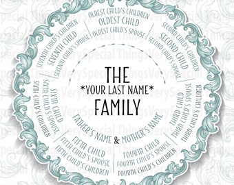 Descendants Family Tree Gift, 7 Siblings, Grandparent Gift, Family Tree Gift print or digital file
