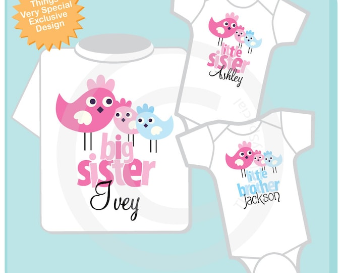 Set of Three Personalized Big Sister with Twin Babies one Boy and one Girl Tshirt and Two Onesies with Cute Birdies (02172014c)
