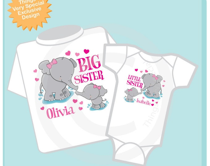 Set of Two Personalized Elephant Big Sister and Little Sister Shirt or Onesie Pregnancy Announcement (03232012b)