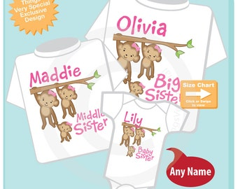 Girls Set of three Personalized Sibling Monkey Shirt Set, Big Sister Shirt, Middle Sister,  and Baby Sister, Shirt or Onesie (04072015e)
