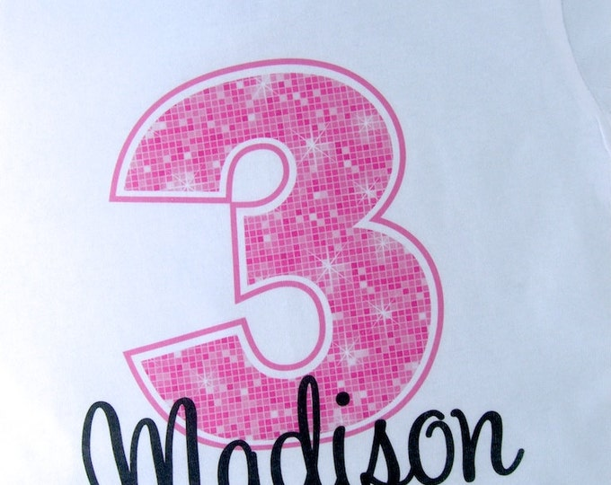 Third Birthday Shirt, Pink 3 Birthday Shirt, Any Age Personalized Girls Birthday Shirt Pink Age and Name Tee for kids (02282012a)