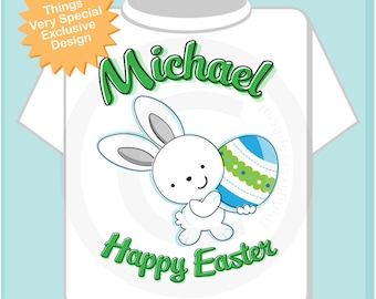 Boys Happy Easter Shirt, Personalized Easter Shirt or Onesie, Easter Bunny and Egg Shirt for Toddlers and Kids (03142012e)