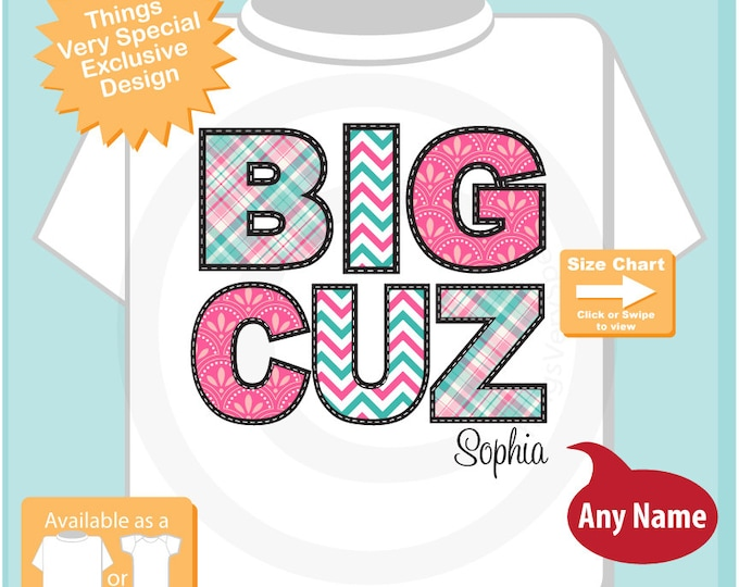 Girl's Big Cousin Shirt - Personalized Big Cuz Chevron Infant, Toddler or Youth Tee Shirt or Onesie Pregnancy Announcement 08132015h