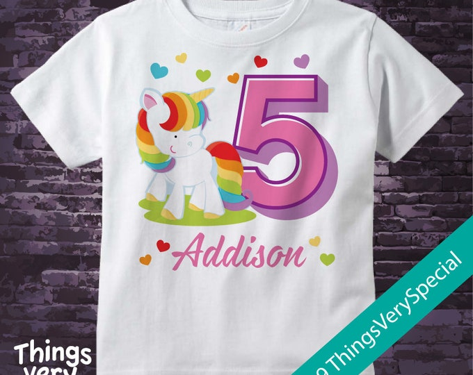 5th Birthday Girl Unicorn Birthday Shirt, Personalized Girl's Fifth Birthday Shirt, Rainbow Unicorn Birthday Theme 02132019c