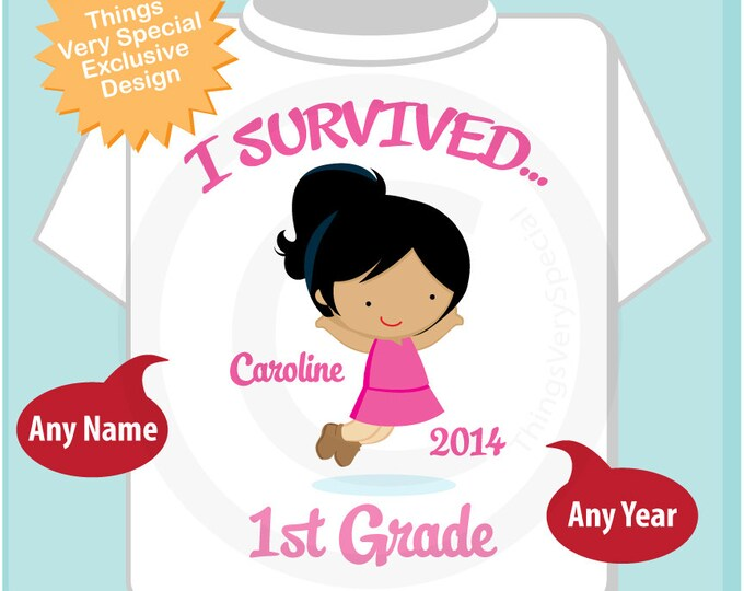 Personalized I Survived 1st Grade Shirt, First Grader Shirt Child's Back To School Shirt or 05202014b