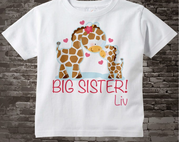 Big Sister Shirt, Big Sister Onesie, Personalized Big Sister Shirt, Giraffe Shirt with Little Brother or Unknown Sex Baby 05012012a