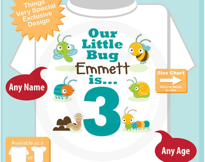 Boy's Three Year Old Bug Birthday Shirt or Onesie with Name, 3rd Birthday Shirt, Personalized Bug Birthday Theme (07232015h)
