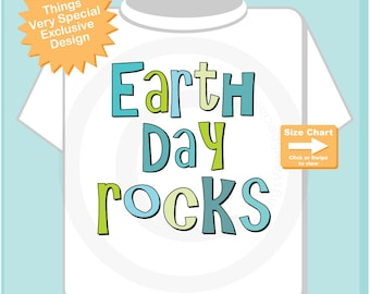 Earth Day Rocks Shirt or Onesie Bodysuit, Earth Day Rocks in green and blue for Toddlers and Kids 04012015h