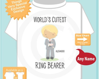 World's Cutest Ring Bearer Shirt or Onesie Bodysuit, Personalized Infant, Toddler or Youth Tee Shirt with cute little boy (07172015c)