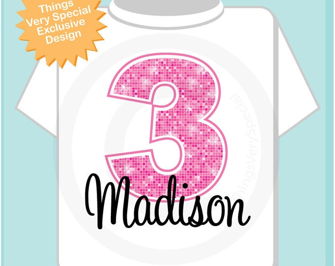 Third Birthday Shirt, Pink 3 Birthday, Any Age Personalized Girls Birthday Pink Age and Name Tee or Infant Onesie for kids (02282012a)