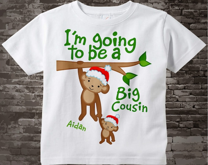 Boy's Personalized Santa Hat I'm Going to Be A Big Cousin Monkey Shirt or Onesie with Christmas Theme, Pregnancy Announcement 12172013d