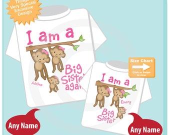 I am A Big Sister Again and I am a Big Sister Shirt set of 2, Sibling Shirt, Personalized Tshirt with Cute Monkeys (04102015e)
