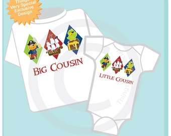 Set of Two Big Cousin and Little Cousin Pirate Onesie or Shirt Set for Matching Siblings (0803206b)
