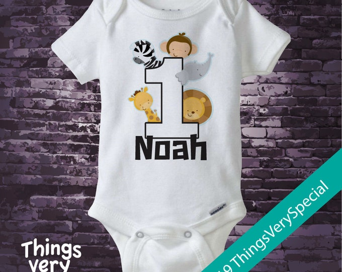 One Year Old Jungle Birthday Shirt or Onesie with Name for boy, 1st Birthday Shirt or bodysuit, Personalized Jungle Birthday Theme 02272019c
