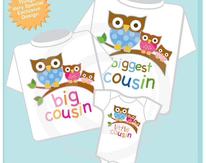 Matching Sibling Set of Three, Biggest Cousin Boy Owl, Big Cousin Girl Owl, and Little Cousin Outfit Personalized Owl Tee Shirt (11142013b)