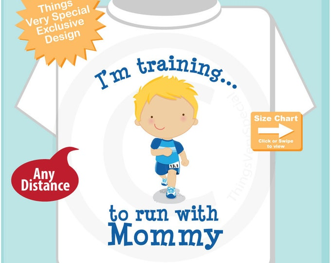 Personalized I'm Training to Run a 1/2 marathon with Mommy Children's Tee Shirt or Onesie (03182015a)