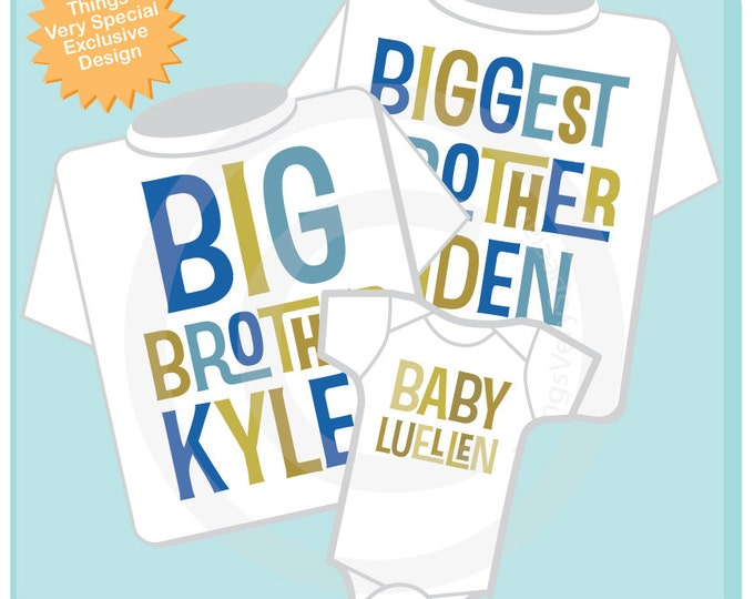 Boys Set of Three Biggest Brother, Big Brother Shirt, and Neutral Baby Shirts and Onesie Set Personalized Pregnancy Announcement (11202012a)