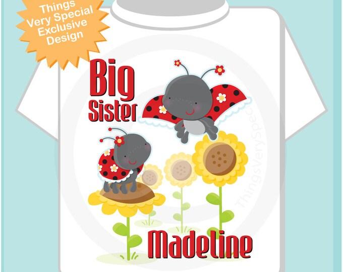Ladybug Big Sister Shirt, Lady Bug Big Sister Onesie, Personalized Big Sister Ladybug Shirt with Little Sister Ladybug TShirt 07092015c