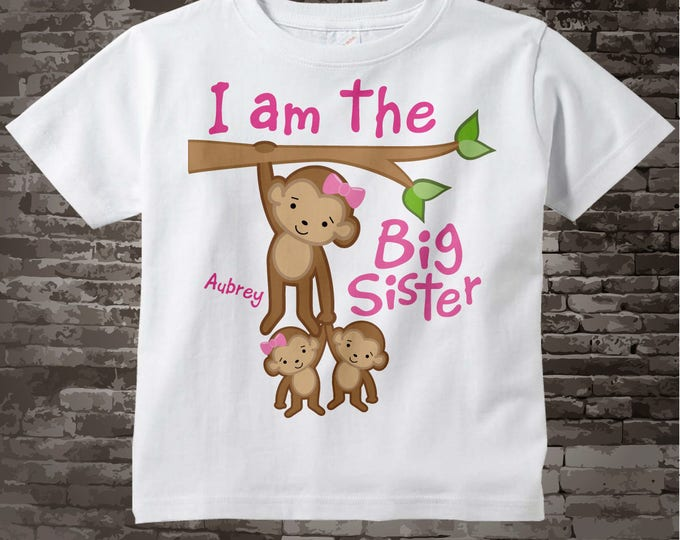 I am the Be a Big Sister Shirt or Onesie, Monkey with twin babies 1 girl 1 boy Personalized Big Sister with Monkeys 07172015j