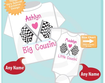 Set of 2, Big Cousin and Little Cousin Shirt Personalized Checkered Flag Racing Tee Shirt or Onesie Pregnancy Announcement 03052015c