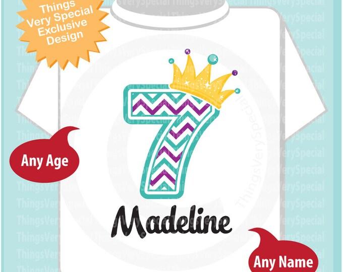 Seventh Birthday Shirt, Turquoise Chevron 7 Birthday Shirt, Any Age Personalized Girls Birthday Shirt Outfit top 03202019b
