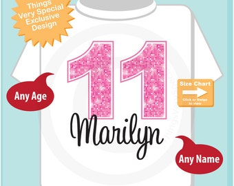 Eleventh Birthday Shirt, Pink 11 Birthday Shirt, Any Age Personalized Girls Birthday Shirt Pink Age and Name Tee for kids (11242014b)