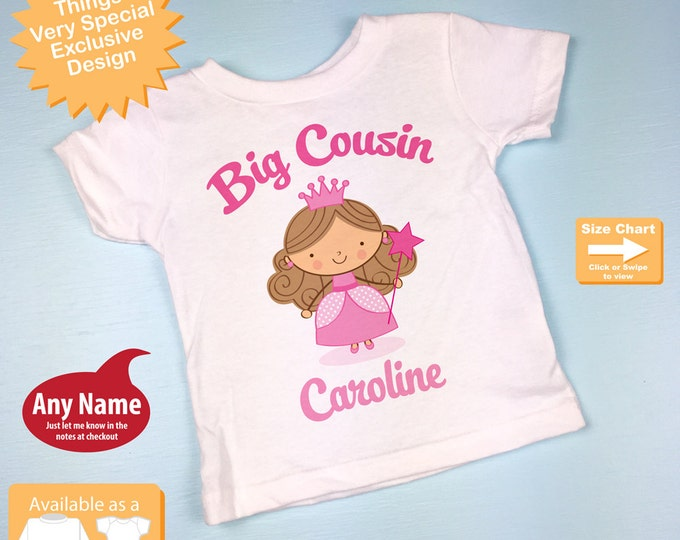 Princess Big Cousin Shirt, Personalized Big Cousin Shirt or Onesie, Big Cousin Shirt for Toddlers and Kids (02072014d)