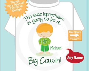 Big Cousin Shirt - Irish Leprechaun Big Cousin Shirt or Onesie Bodysuit, Personalized Big Cousin Outfit - Irish Big Cousin Shirt  01282015b