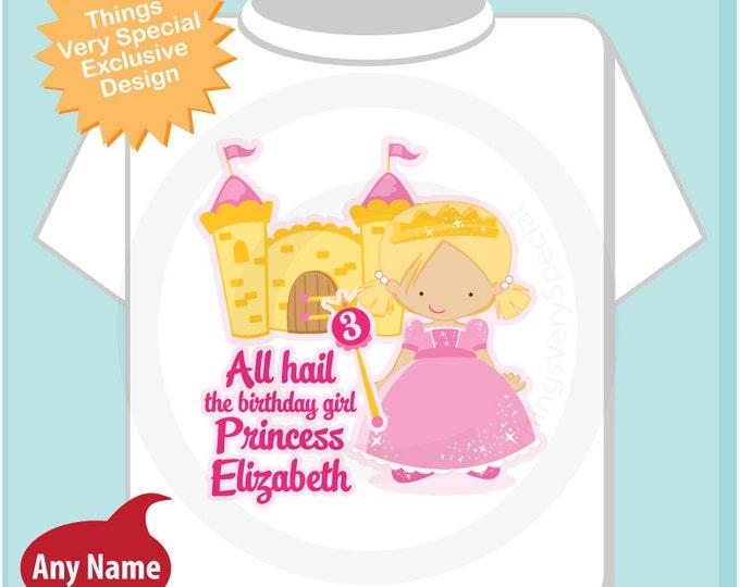 3rd Birthday Shirt, Blonde Haired Princess Third Birthday Shirt, Personalized Cute Princess Birthday Girl Tee Shirt (08232016b)