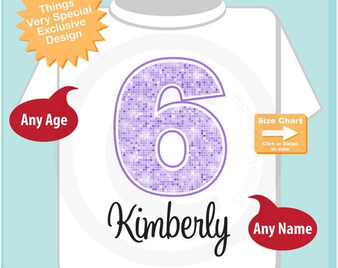 Sixth Birthday Shirt, Light Purple 6 Birthday Shirt, Any Age Personalized Girls Birthday Shirt Light Purple Age and Name (01062015b)