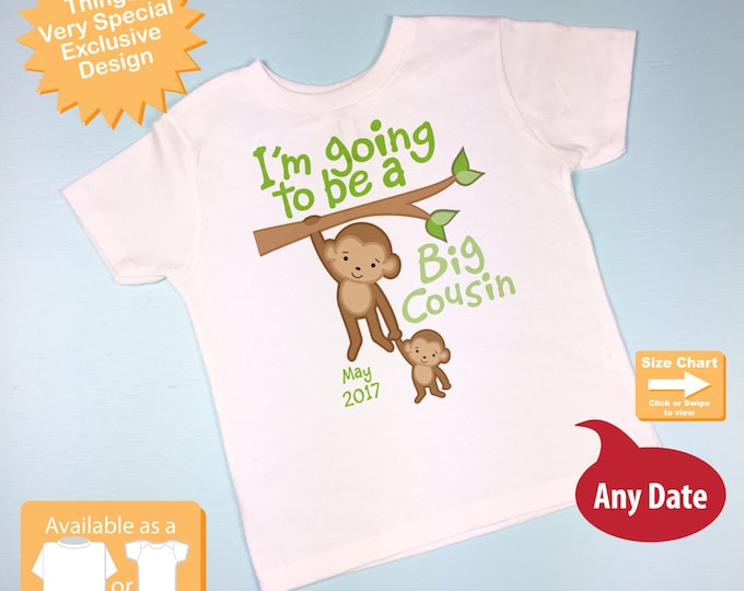 I'm going to be a Big Cousin Shirt or Onesie with Due Date of Baby Cousin in gender neutral colors - Big Cousin Outfit 02052016a