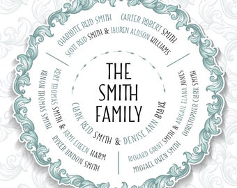 Grandparent Gift. 3 Siblings, Descendants Family Tree Gift, Family Tree print or digital file