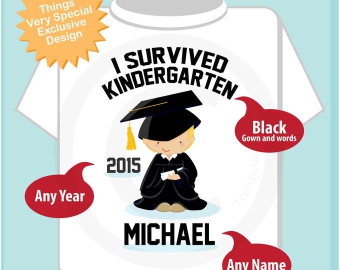 Personalized I Survived Kindergarten Shirt Kindergarten Graduate Shirt Child's Back To School Shirt (05152014d)