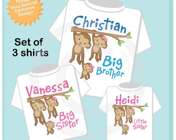 Sibling Monkey Shirt Set, Set of Three, Big Brother Shirt, Big Sister, and Little Sister,  Personalized Shirt or Onesie (05052014e)