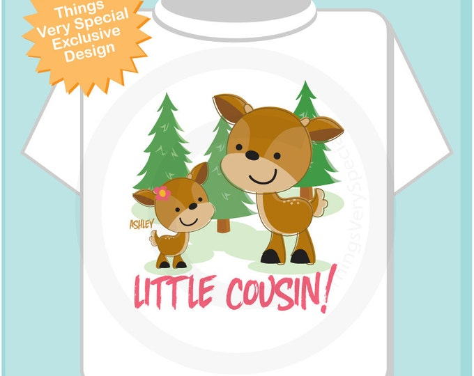 Personalized Little Cousin Woodland Deer Tee Shirt or Onesie, Little Cousin Girl Doe with big cousin any gender. 11272013a4