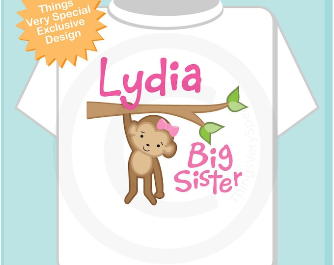 Personalized Big Sister Monkey Tee Shirt or  Gerber Onesie (01302012a)