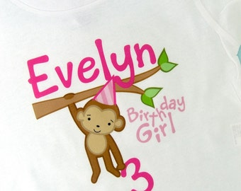 Personalized Birthday Girl Monkey Tee or Onesie any Age 02102012dz