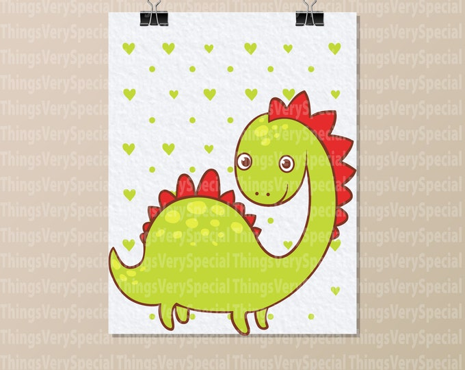 "Dinosaur Art Print, Children's Room Art Prints, Cute Green Dinosaur Art Print. 8.5"" x 11"" Art Print for Children's Room. 09242019g"